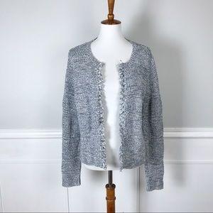 LOFT blue & white fringe edge cardigan sweater Lg
